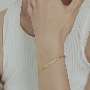 18K Gold Plated Herringbone Snake Chain Bracelet